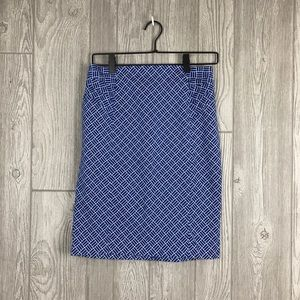 3/$20 NY & Co Blue/White Ruched Pencil Skirt 2 B2
